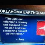 Oklahoma Earthquake Mistaken for…donkey?